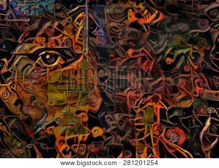 Abstract mechanic. Woman's face in cogwheels pattern. 3D rendering