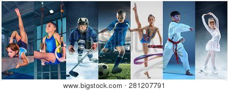 Attack. Sport Collage About Teen Or Child Athletes Or Players. The Soccer Football, Ice Hockey, Figu