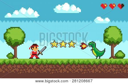 Pixel Retro Style Of 8bit Game Mode Character Arcade Vector. Man With Sword Fighting Against Dangero