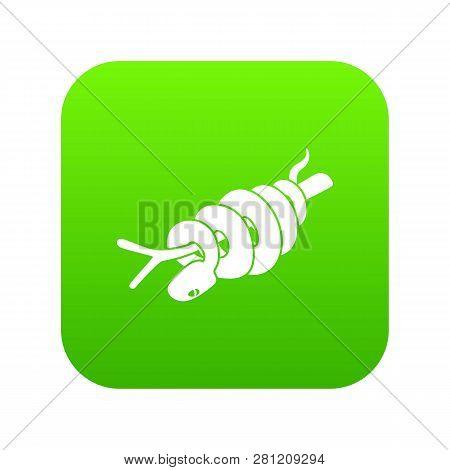 Ratsnake Icon Green Isolated On White Background