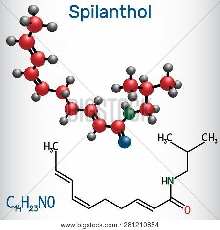 Spilanthol Molecule. It Is A Fatty Acid Amide, Is Used For The Local Anesthetic Properties And In Co