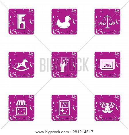 Gadget Icons Set. Grunge Set Of 9 Gadget Icons For Web Isolated On White Background