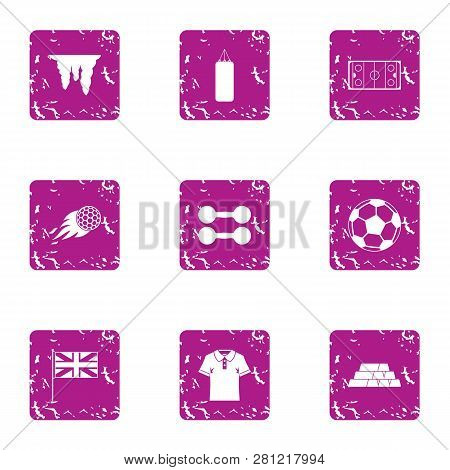 Fierce Training Icons Set. Grunge Set Of 9 Fierce Training Icons For Web Isolated On White Backgroun