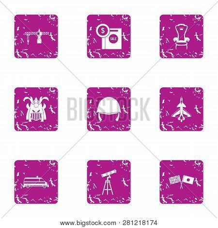 Military Attitude Icons Set. Grunge Set Of 9 Military Attitude Icons For Web Isolated On White Backg
