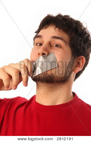 Guy With Adhesive Tape On Lips