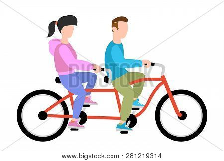 People Weekend Concept - Boy And Girl Ride A Bike On White Background, Flat Vector Illustration