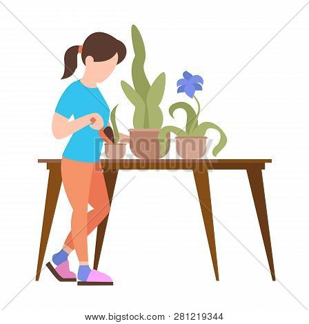 People Weekend Concept - Woman Caring For Flowers In The Pot On White Background, Flat Vector Illust
