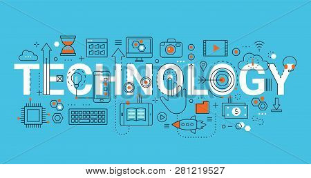 Modern Flat Thin Line Design Vector Illustration, Concept Of Technology, For Graphic And Web Design