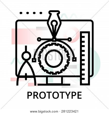 Prototype Icon On Abstract Background From Startup Set, Modern Editable Line Vector Illustration, Fo