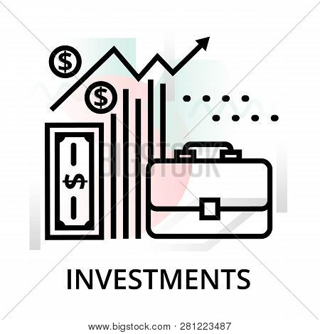 Investments Icon On Abstract Background From Startup Set, Modern Editable Line Vector Illustration,