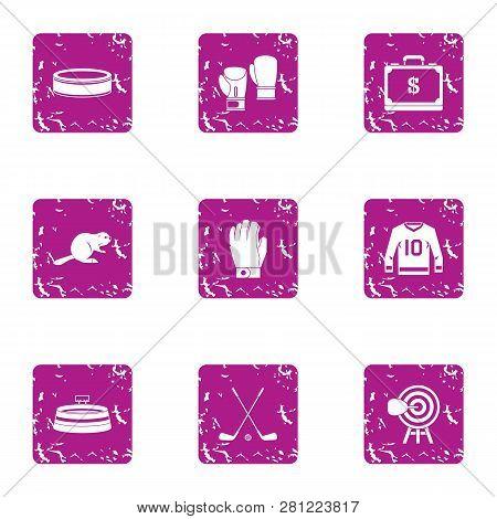 Reaction Training Icons Set. Grunge Set Of 9 Reaction Training Icons For Web Isolated On White Backg