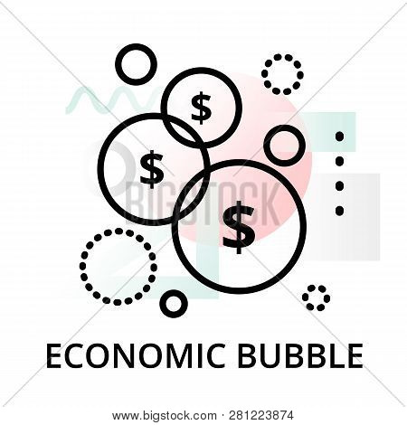 Economic Bubble Icon On Abstract Background From Startup Set, Modern Editable Line Vector Illustrati