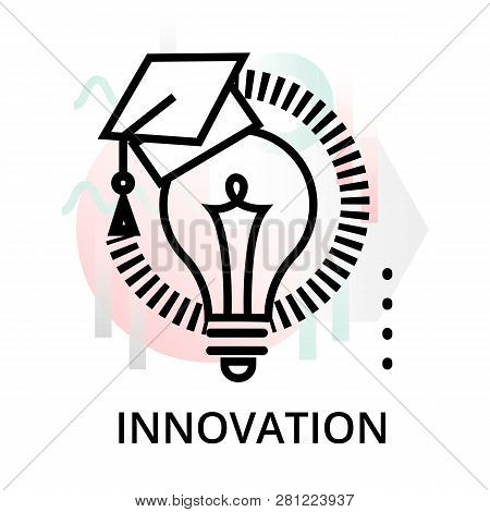 Innovation Icon On Abstract Background From Startup Set, Modern Editable Line Vector Illustration, F