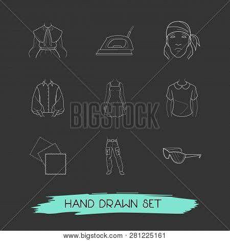Set Of Clothing Icons Line Style Symbols With Bandanna, Puritan Collar, Denim Icons For Your Web Mob