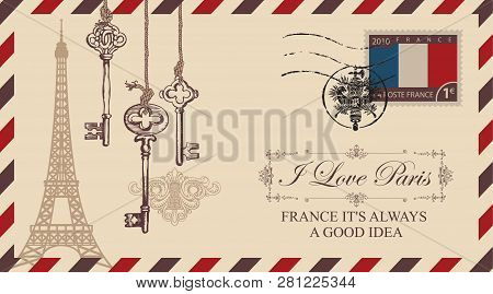 Vector Envelope Or Postcard In Retro Style With Eiffel Tower And Old Keys, Postmark In Form Of Frenc