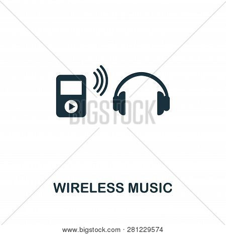 Wireless Music Icon. Premium Style Design From Fitness Icon Collection. Pixel Perfect Wireless Music