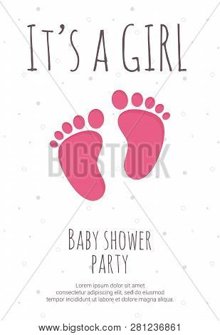 Baby Shower Party For Future Mommy Of Girl Template With Pink Toddler Footsteps.