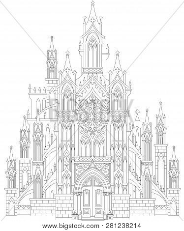 Fantasy Drawing Of Medieval Gothic Castle. Black And White Page For Coloring. Worksheet For Children