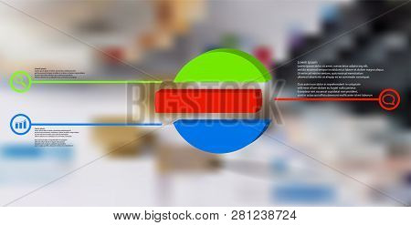3d Illustration Infographic Template. The Embossed Ring Is Divided To Three Color Shifted Parts. Obj