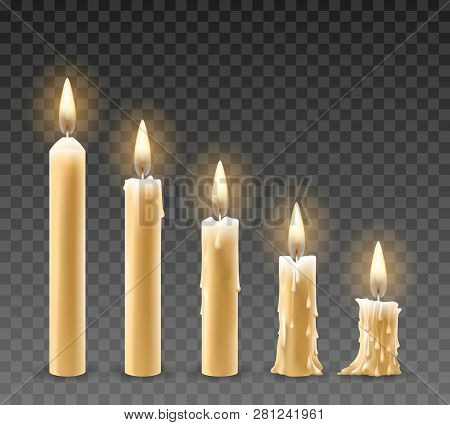 Burning Candles. Burn Isolated Candle Objects, Flicker Church Candles At Different Stages Of Burning