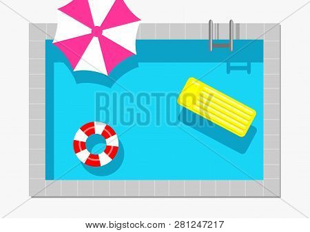 Swimming Pool Top View With Water Ring, Umbrella And Air Mattress