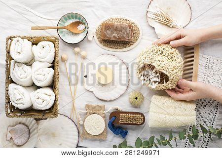 Zero Waste House Bathroom. Natural Materials, Wood, Bamboo, Cotton, Sea Salt, Luffa. Top View. With