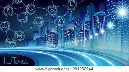 Internet Of Things Low Poly Smart City 3d Wire Mesh. Intelligent Building Automation Iot Concept. Mo