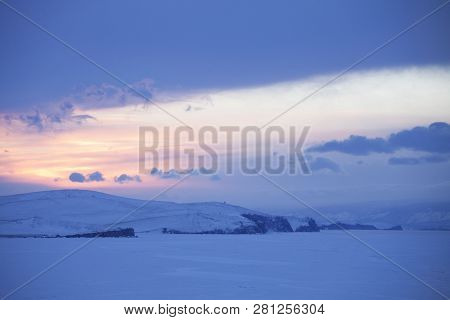 View From Cape Burhan On Baikal Lake. Winter Landscape