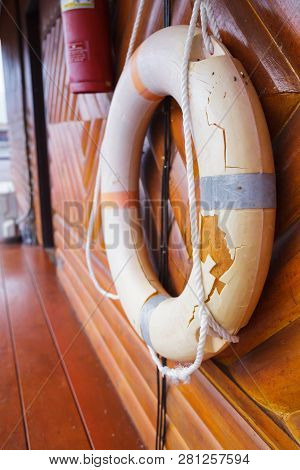 Old, Broken And Expired Personal Life Support Flotation Safety Device (life Buoy) For Swimmers, Pass