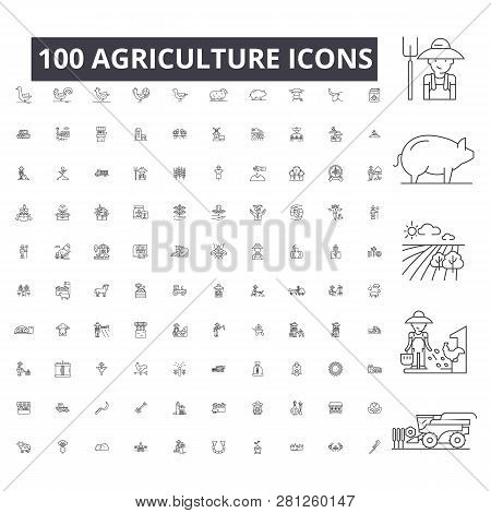 Agriculture Editable Line Icons, 100 Vector Set On White Background. Agriculture Black Outline Illus