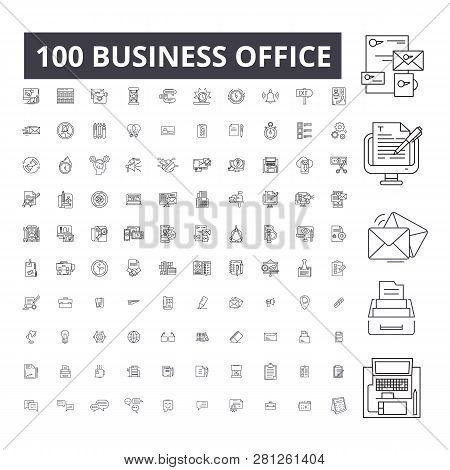 Business Office Editable Line Icons, 100 Vector Set, Collection. Business Office Black Outline Illus