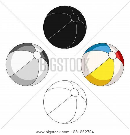 Inable Multicolored Ball.summer Rest Single Icon In Cartoon Style Vector Symbol Stock Illustration.