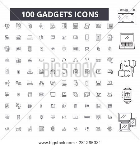 Gadgets Editable Line Icons, 100 Vector Set, Collection. Gadgets Black Outline Illustrations, Signs,