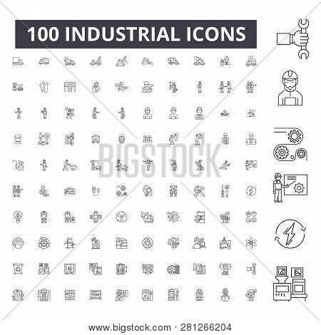 Industrial Editable Line Icons, 100 Vector Set, Collection. Industrial Black Outline Illustrations,
