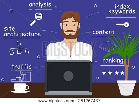 Seo Manager Working On Computer. Seo Manager Thinks About New Project. Seo Search Engine Optimizatio