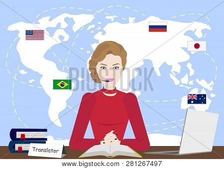 Multi Language Translator Concept Illustration. Girl On Computer Talking Different Languages Using T