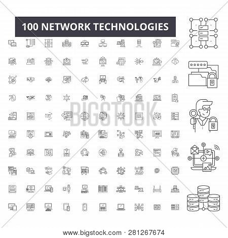 Network Technologies Editable Line Icons, 100 Vector Set, Collection. Network Technologies Black Out