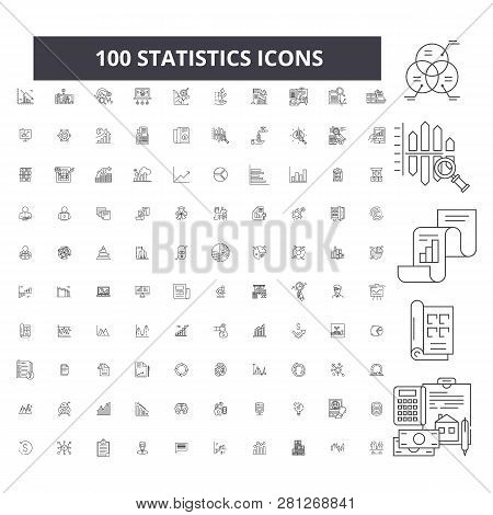 Statistics Editable Line Icons, 100 Vector Set, Collection. Statistics Black Outline Illustrations,