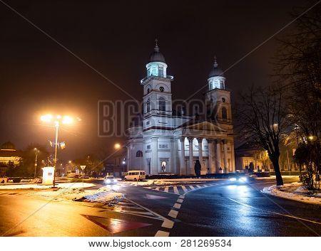 Night Scene Of Romano - Catholic Bishopric Church In Satu Mare, City Of Romania