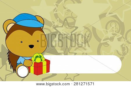 Cute Baby Porcupine Kawaii Cartoon Background Card In Vector Format