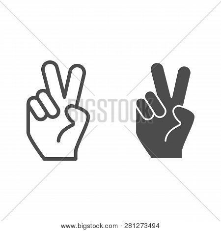 Hand Gesture Peace Line And Glyph Icon. Hand With Two Fingers Up Vector Illustration Isolated On Whi