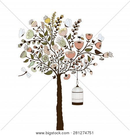 Beautiful Floral Tree With Birdcage And Butterflies On White Background