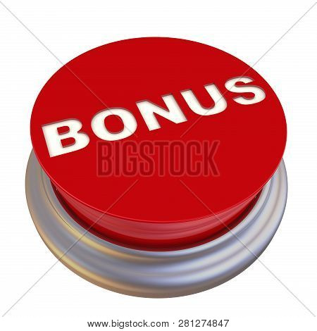Bonus. Red Button Labeled. Round Red Button With The Word Bonus. Isolated. 3d Illustration