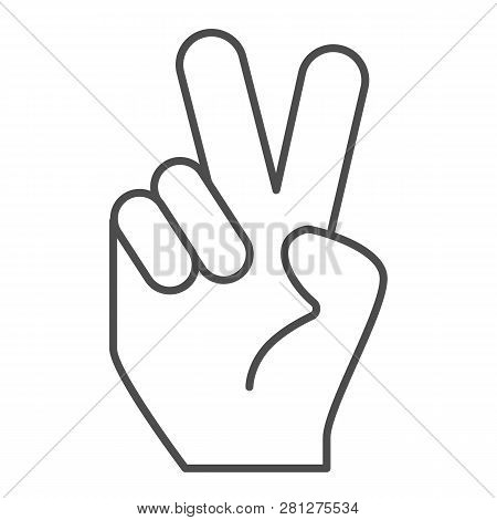 Hand Gesture Peace Thin Line Icon. Hand With Two Fingers Up Vector Illustration Isolated On White. P