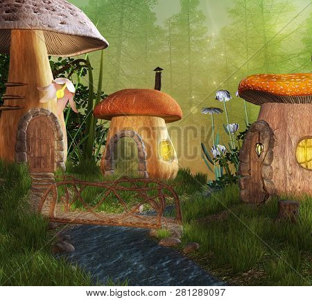 Magic Mushrooms Village In An Enchanted Woodland - 3d Illustration
