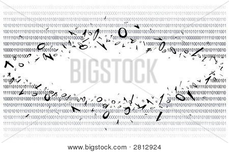 Breakthrough into binary code on white. Background. Illustration. Vector EPS-10.