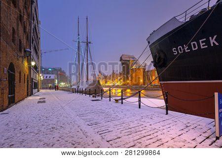 Gdansk, Poland - January 27, 2019: SS SOLDEK museum ship at Motlawa river in winter scenery, Gdansk. SS SOLDEK is the first ship built in Poland after World War II.