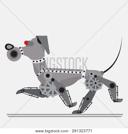 Robot Dog. Concept Of Electronic Assistant. Cybernetic Mechanism. Style Flat