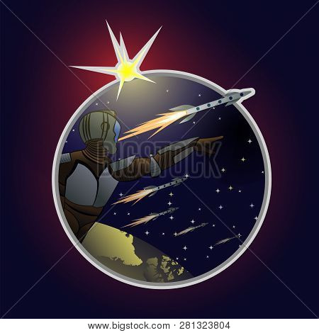 Astronaut In Spacesuit Shows In Direction Of Far Space. Bright Star, Small Constellations, Home Plan