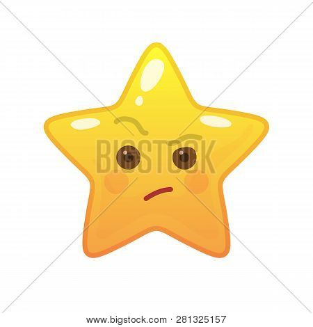 Envious Star Shaped Comic Emoticon. Suspecting Face With Facial Expression. Critical Emoji Symbol Fo